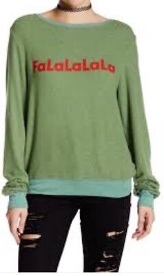 Wildfox Christmas Sweatshirt.Ugly Falalalala Christmas Sweater Green Sweatshirt New