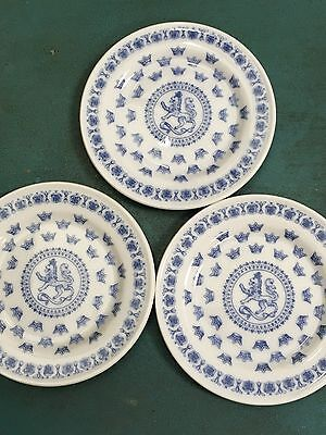 "Lot of 3 SVEA RORSTRAND BLUE LION BUTTER PAT COASTER SMALL PLATE SWEDEN 3"" Each"