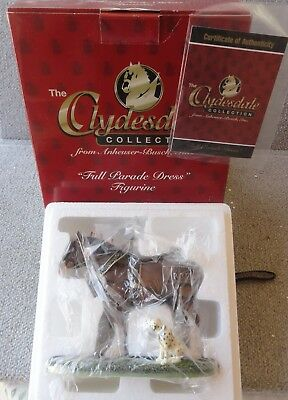 1997 Budweiser Clydesdale Horse Full Parade Dress &Dog Figurine NEW IN BOX &COA
