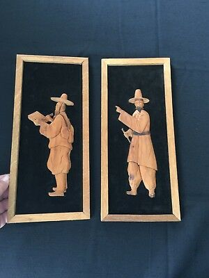 Vintage 1960-70 Carved Wood Wall Plaques Stylized Korean / Chinese Men Artists ?