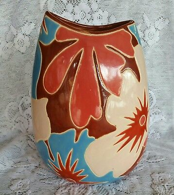 Beautiful Modern Floral Pottery Vase Marked A 11 #144 ?