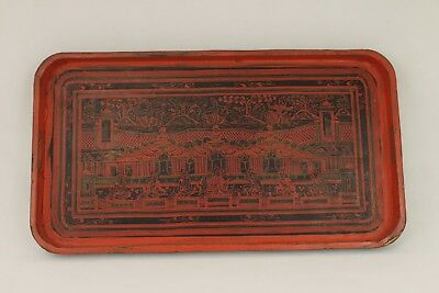 Antique Burmese Red Lacquer Tray Buddhist Asian Chinese