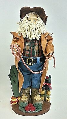 Fabric Porcelain Texas Santa Figure 17 Inches Style for the Holidays