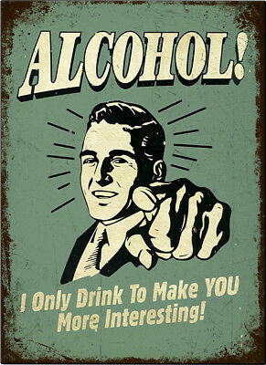 Alcohol Beer Retro Tin Sign Wall Plaque / Fridge Magnet Man Cave Humourous Diner