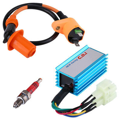Performance Racing CDI Ignition Coil Spark Plug For GY6 50cc 125cc 150cc Scooter