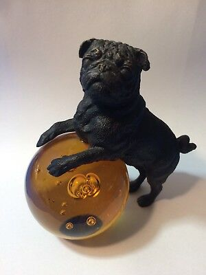 """Vintage 5"""" Cast Iron Bulldog Paperweight With Amber Glass Ball Jelly Belly"""