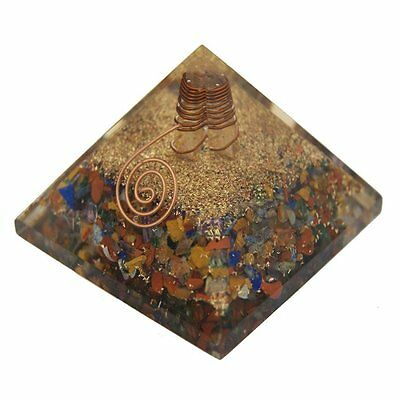 Extra Large  7 Chakra Multi Orgone Gemstone (50-55mm)  X- Large Pyramid Orgonite