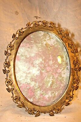 """Beautiful Antique Oval Brass Picture Frame Scrolled Flowers & Leaves 5 1/2"""" X 4"""""""