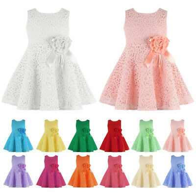 Baby Girls Lace Dress Flower Princess Sleeveless Formal Party Wedding Bridesmaid