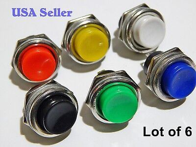 New Lot 16Mm Push Button Switch Momentary 6 Pcs. Assorted Usa Seller
