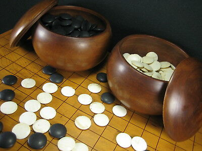 Japanese Vintage  (C. 1930)  Go Game Goke Stones With  Mulberry Wood Bowls