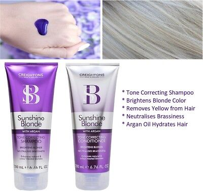 Creighton Sunshine Blonde Silver Purple Toning Anti Yellow Shampoo & Conditioner