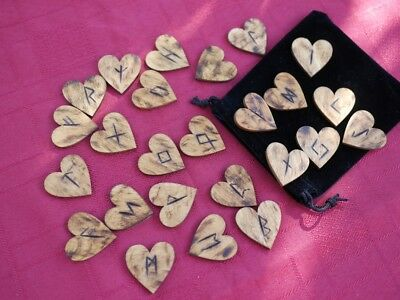 Elder Futhark Viking Rune Set With Pouch  Hearts