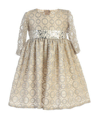 Champagne Flower Girls Dress Toddler Kids Christmas Wedding Holidays Party 513