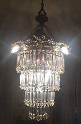 RARE 18th Century Antique Brass & Crystal Wedding Cake Chandelier w/ Face Images