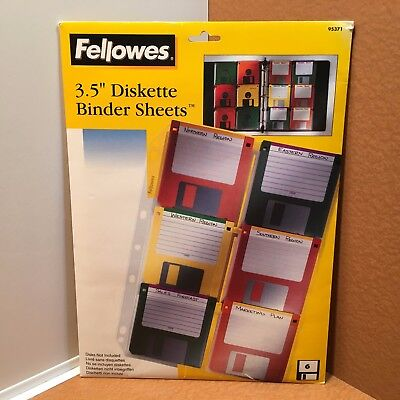"""NEW 3.5"""" Diskette Binder Sheets by Fellows Pkg 10 Sheets, holding 6 - 3.5 disks"""