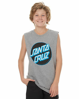 New Santa Cruz Boys Kids Boys Other Dot Muscle Singlet Crew Neck Cotton Grey