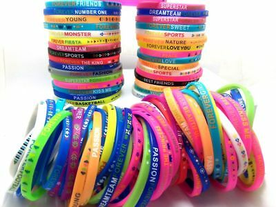 100 Stretch Mix Silicone Girls Kids Bracelets Wristbands Bangle Fashion Jewelry