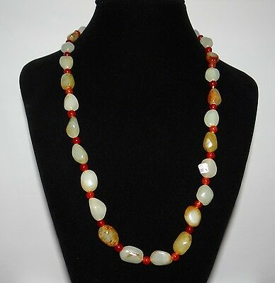 "0.8"" China Certified Nature Nephrite Hetian Jade Red Skin Pearls Necklace"
