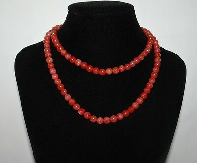 "0.3""China Certified Nature South Red Agate Jade Nice Light Red Pearls Necklace"