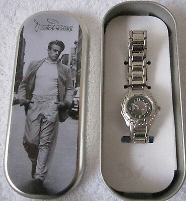 James Dean 50th Anniversary Silver Color Lady's  Watch in Tin Metal Box #12