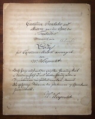 Antique Brass Band Music Manuscript by Wieprecht Cornet Solo signed ARBUCKLE W@W
