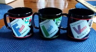 Vintage 3 Mcdonald's Mugs/cups Irish Cream French + Vienna Roast Made In France