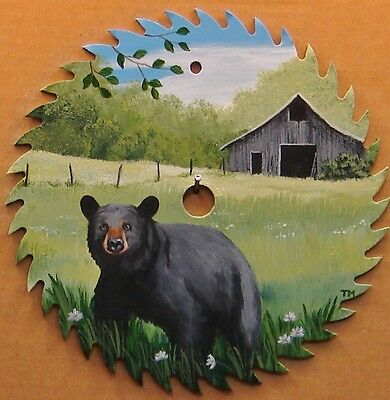 "Hand Painted 7 1/4"" Saw Blade Black Bear and Barn Cabin Lodge Hunting Decor"