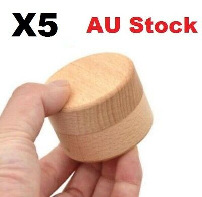 AU Stock X5 Round Wooden Wedding Ring Jewelry Trinket Box Wood Storage Container