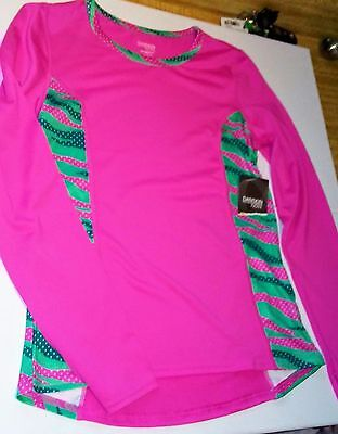 New girl's Large 10/12 DANSKIN Now longsleeve athletic top breathable fabric NWT