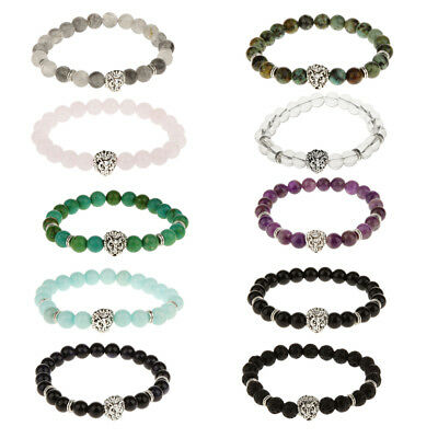 Fashion Natural Gemstone Stone Beaded Bracelet Silver Buddha Lion Charm Bracelet