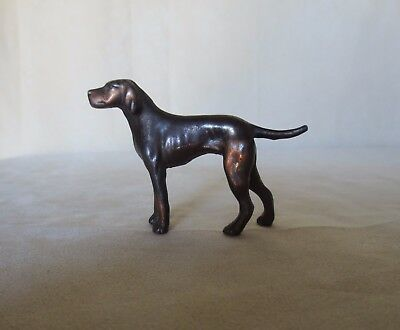 "Vintage Metal Hound Dog Figurine 2.5"" Tall 3.25"" Long-Brand Unknown"