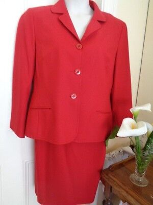 Red Pure Wool Suit By Designer Perri Cutten Made In Australia (Skirt & Jacket)