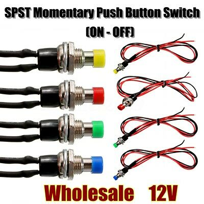 12V 10mm Mini SPST Momentary ON/OFF Push Button Switch w/ Lead Wire 4 Choices