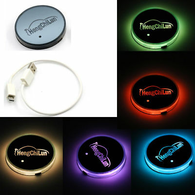 Car Interior RGB Cup Holder Pad Bottom Cover Trim Atmosphere Light Lamp UK STOCK