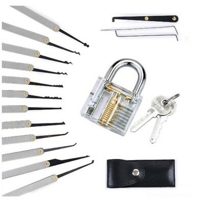 12Pcs Stainless Steel Lock Pick Hot Transparent Training Tools Padlock + Pouch