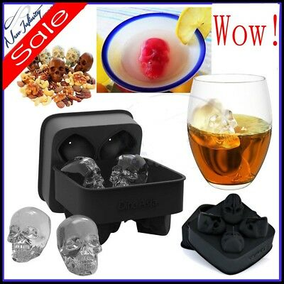 Silicone 3D Skull Ice Cube Mold Cocktails Whisky Ice Mould Tray Party Halloween