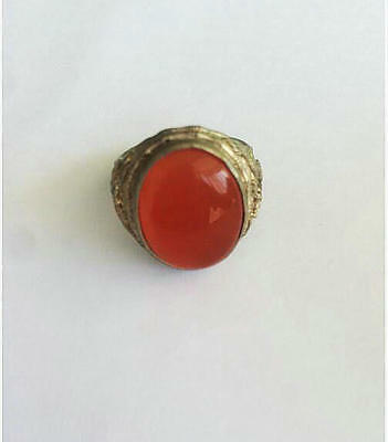 Old Chinese Inlay red opal Tibet Silver dargon   man Ring Collectible