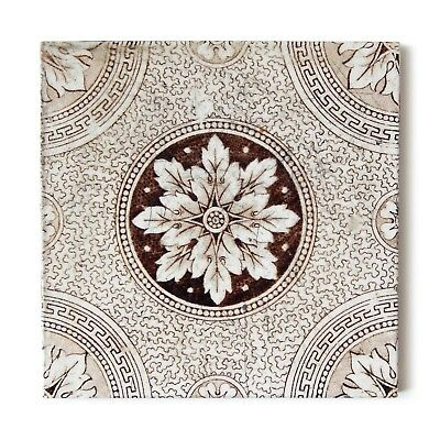 Antique Tile Victorian Aesthetic Arts & Crafts England Floral Flower Brown White