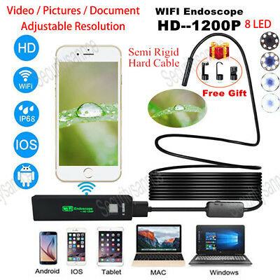 8mm Rigid Tube Wifi Endoscope Camera HD 1200P Borescope for Android IPhone IP68