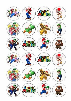 24 x SUPER MARIO BROS Wafer Rice Paper Cupcake Toppers EDIBLE CAKE DECORATIONS