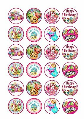 24 x SHOPKINS Wafer Rice Paper Cupcake Toppers EDIBLE GIRLS CAKE DECORATIONS