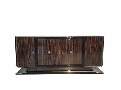Art Deco Macassar Sideboard with Black Interior