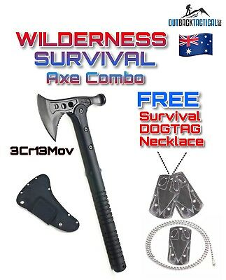 Tactical Survival AXE Hammer Hatchet Multifunction + SURVIVAL DOGTAG TOOL