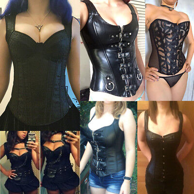 Black Brocade Burlesque Steampunk Underbust Corsets dress Faux Leather Plus Size