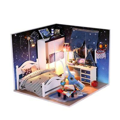 DIY Blue Doll House Dollhouse Miniatures Furniture Model Handcraft Kits