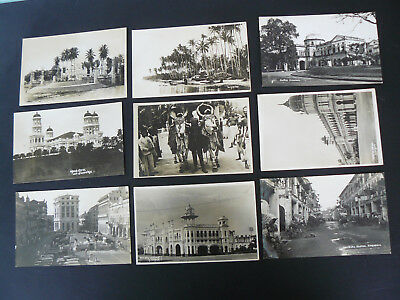 9 x Singapore or Malaysia Real Photo RP Postcards