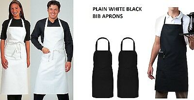 Black, White Halter Neck Apron Waiter Baker Chefs Full Bib Apron Kitchen Pocket