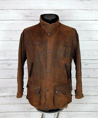 BARBOUR BUSHMAN waxed brown jacket leather trim XL top