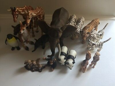 Schleich Sarafi animals 19 items (Elephants, tigers, giraffes, panda, kangaroo..